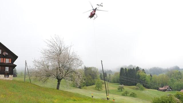 Ein Helikopter fliegt einen Holzmasten ins Gelände.