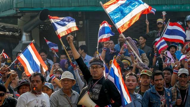 Demonstrierende mit Fahnen in Bangkok
