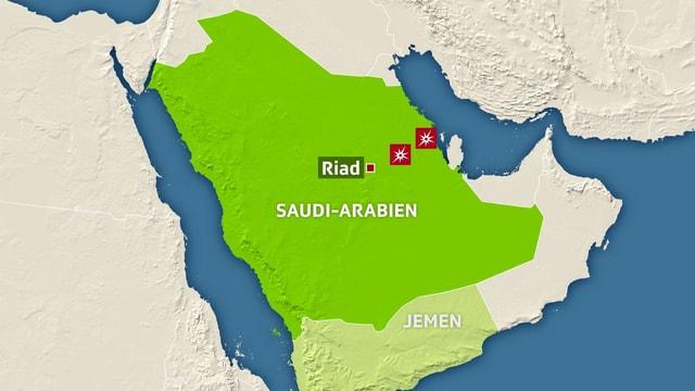 Karte von Saudi-Arabien.