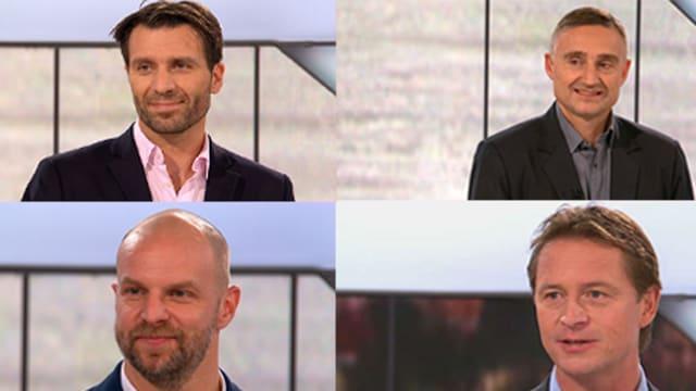 Die SRF-Experten Lars Weibel, Christian Weber, Mario Rottaris und Marc Reichert (im Uhrzeigersinn) glauben unisonio, dass die ZSC Lions den Titel holen werden.
