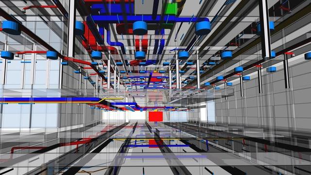 Digitales Abbild einer komplexen Gebäude-Installation im BIM.