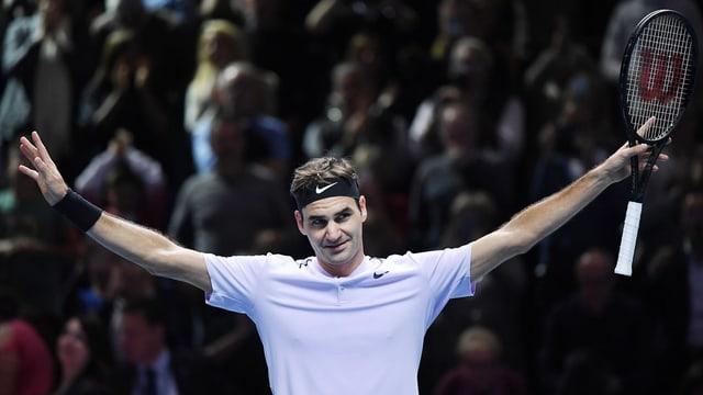 Roger Federer in einer Siegerpose.