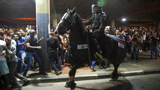 Berittener Polizist und Demonstranten