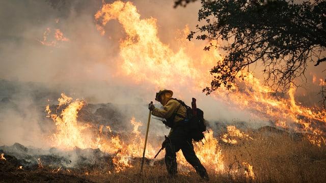 Ein Feuerwehrmann bekämpft Flammen am Boden, im Hintergrund lodern hohe Flammen