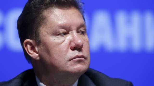Der Gazprom-Chef an einer Medienkonferenz