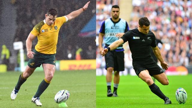 Kicks des Australiers Berhard Fowley (l.) und Neuseeland Dan Carter