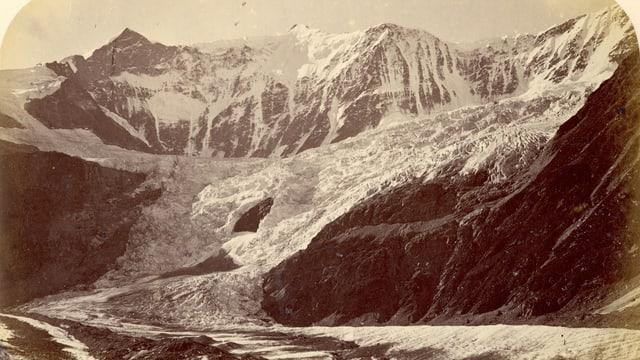Der Gletscher auf einem alten Foto.