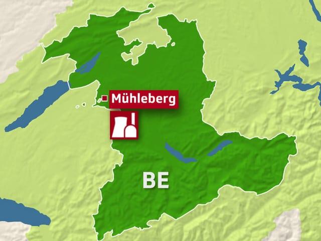 Karte mit AKW Mühleberg