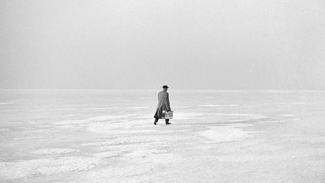 Schwarzweissbild: Ein Mann geht über eine grosse Eisfläche