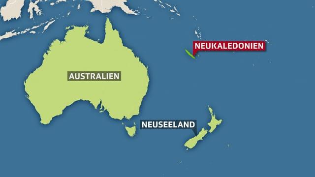 Kartenausschnitt, auf dem Neukaledonien eingezeichnet ist.