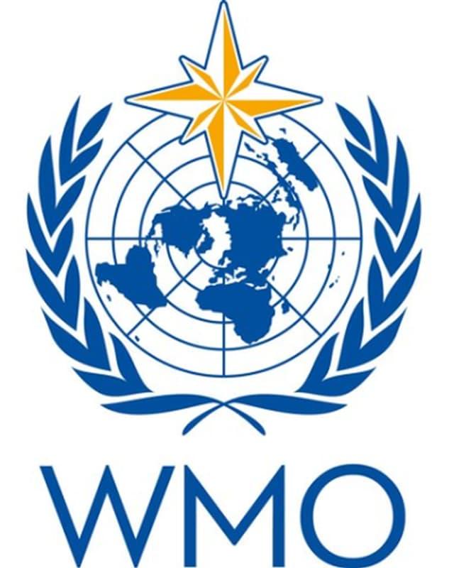 WMO Logo. Blauer Kranz um die vereinten Nationen