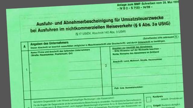 Waren-Ausführschein aus Deutschland