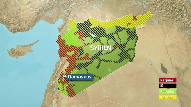 Einflussgebiete in Syrien.