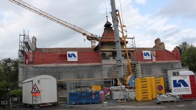 Schützenhaus Baden im Umbau mit Baugerüst