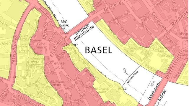 Karte der Basler Innenstadt