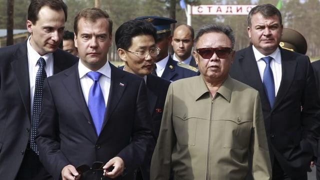 Dmitri Medwedew und Kim Jong-Il.