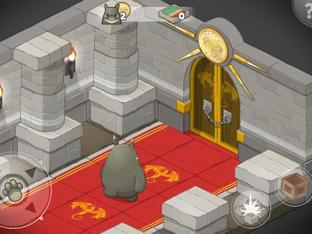 Schloss-Interieru mit einem roten Teppich am Boden. Das Monster Grooh steht vor einer dicken Holztüren.