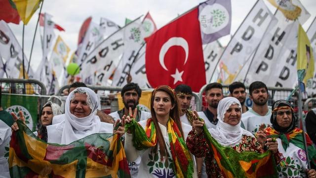 Eine Reihe Frauen und Männer in farbigen Kleidern, dazu eine türkische und viele weisse HDP-Fahnen.
