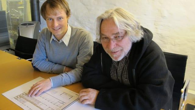 Stecken mitten in der Planung des «Go Tec»-Labors: Patrick Schenk (l.) und Thomas Maag.
