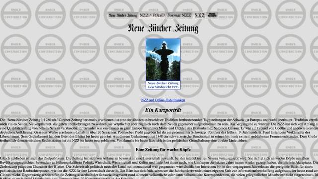 Eine alte Version der Homepage der Neuen Zürcher Zeitung wird gezeigt.