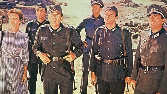 Fünf Soldaten und eine Frau.