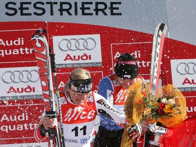Fabienne Suter (r.) gewann 2008 ex-aequo mit Andrea Fischbacher.