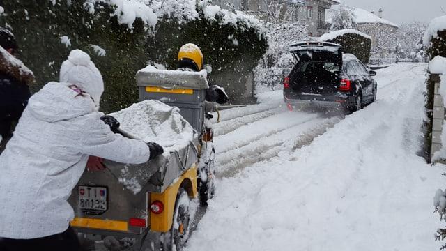 Am 5. März versank das Tessin im Schnee, so auch Giubiasco.