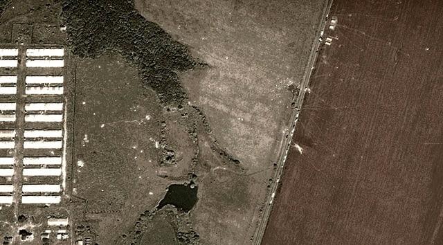 Animierte Satellitenaufnahmen zeigen den Absturzort in der Ostukraine.