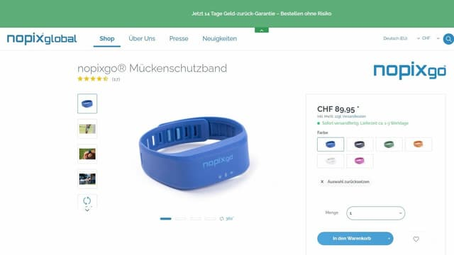 Screenshot von nopixglobal.com - Plastikarmband blau
