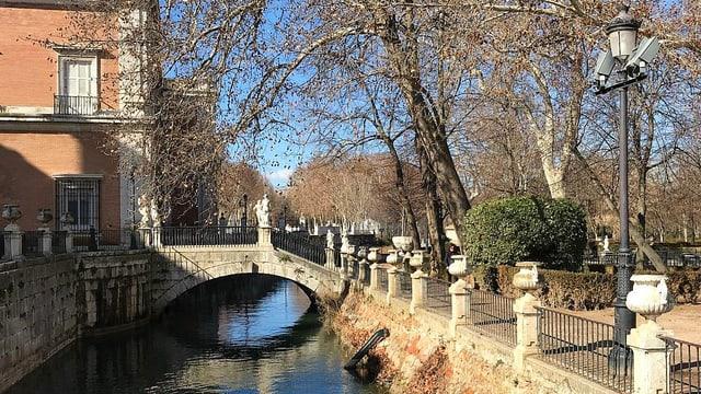Der Schlossgarten in Aranjuez mit einem Wasserkanal und alten Bäumen daneben.