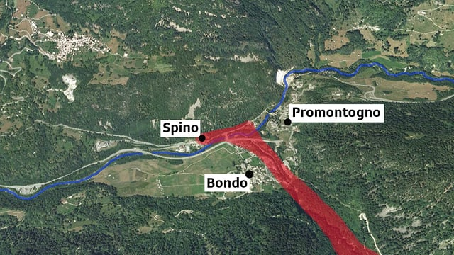 La situaziun da la bova a Bondo, Spino e Promontogno.