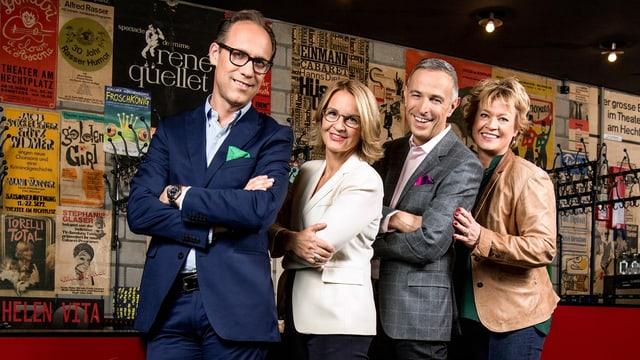 Gruppenbild der Moderatoren: v.l. Christian Zeugin, Sonja Hasler, Dani Fohrler und Daniela Lager