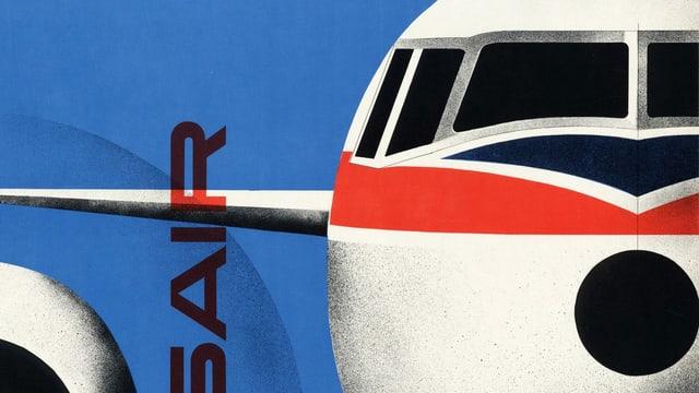 Ausschnitt aus Plakat mit Flugzeug von vorne