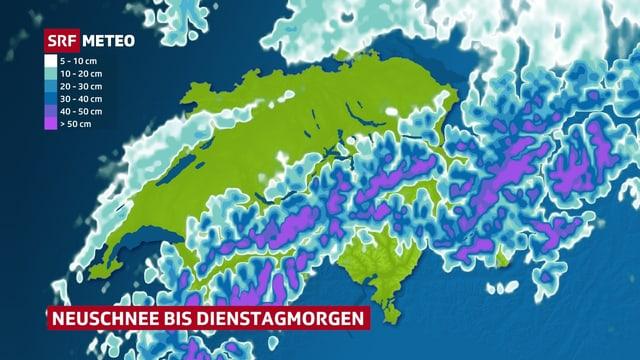 Karte der Schweiz mit den erwarteten Schneemengen.