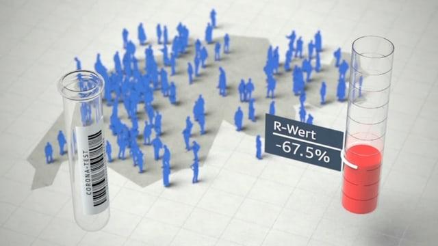 Grafik mit Personen auf einer Schweizer Karte und einem Teströhrchen