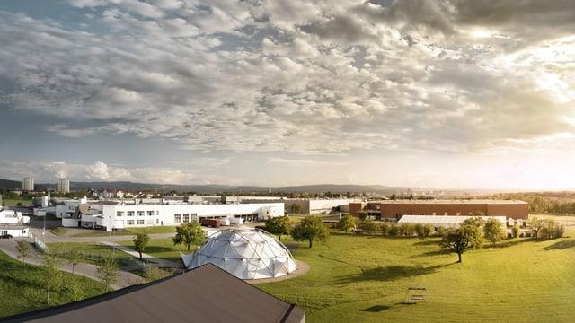 Blick auf die verschiedenen Gebäude der Firma Vitra in Weil am Rhein