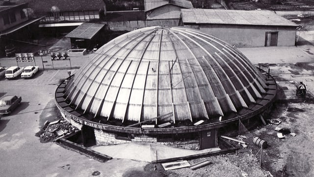Die Kuppel des Gaskessels von oben