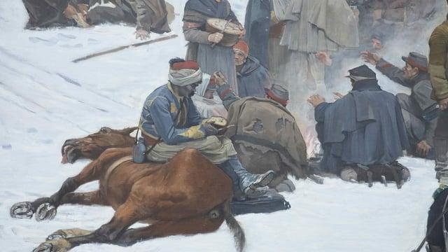 Gemälde-Ausschnitt: Soldat mit Turban sitzt auf totem Pferd