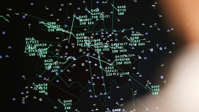 Bildschirm eines Fluglotsen