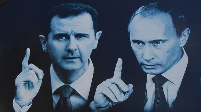 Putin und Assad, abgebildet auf der Hintertür eines Autos in Latakia, Syrien.