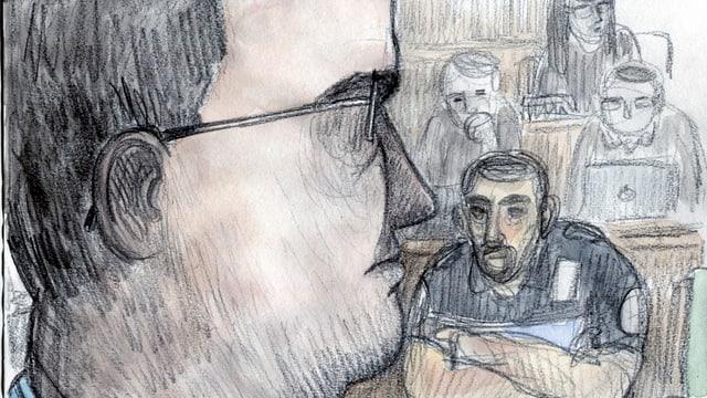 Gerichtszeichnung von einem Mann im Profil