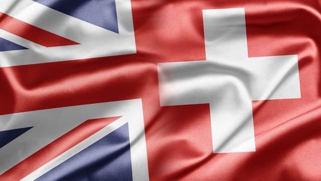 Britische und Schweizer Fahne verschmolzen.