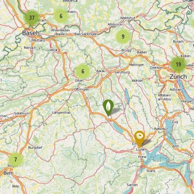 Die Schweiz auf Mundraub.org - noch nicht so fruchtig.