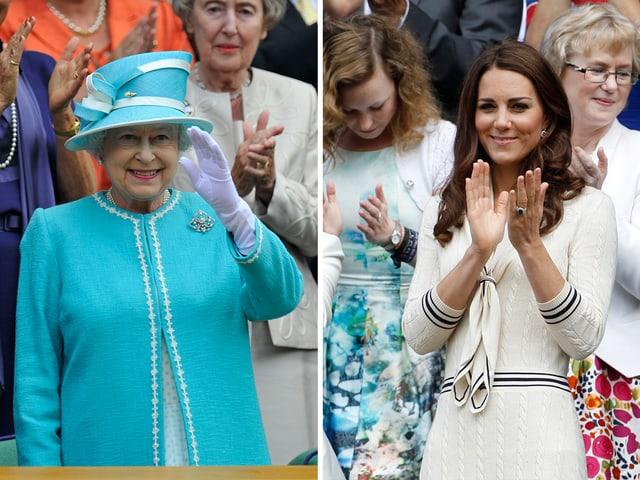 Collage: DIe Queen und Kate jeweils als Zuschauer bei Wimbledon.