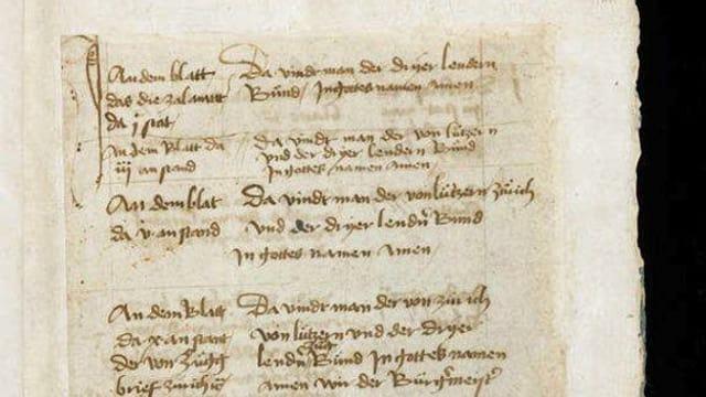 eine Seite des historischen weissen Buches von Sarnen.