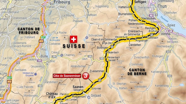 Kartenausschnitt mit der Route durch das Simmental