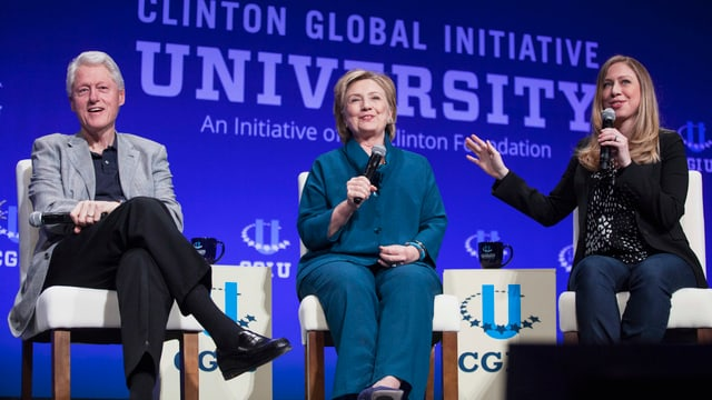 Familie Clinton (Bill, Hillary, Chelsea).
