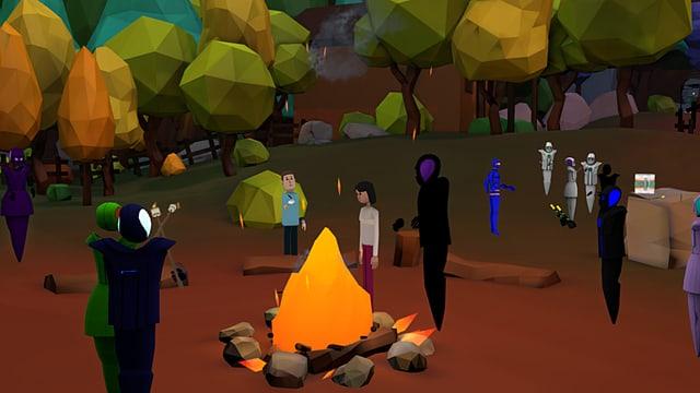 Ein virtuelles Lagerfeuer, umgeben von Avataren.