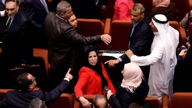 Neu gewählte Parlamentarier werden bei der ersten Session 2014 handgreiflich.