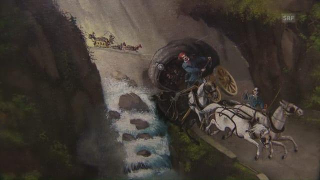 Gemälde von Kutschen auf der Strasse in der Piottinoschlucht